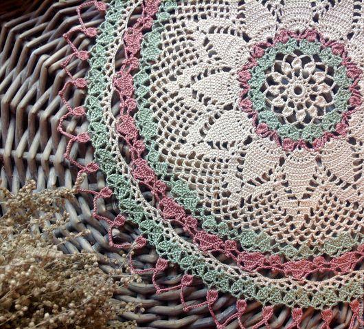 Текстиль, ковры ручной работы. Ярмарка Мастеров - ручная работа. Купить Трехцветная ажурная салфетка. Handmade. Бежевый, салфетка крючком