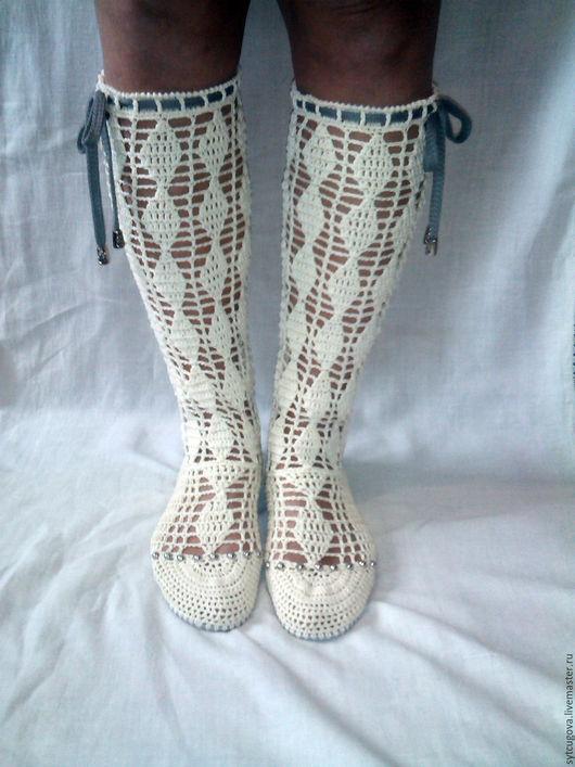Обувь ручной работы. Ярмарка Мастеров - ручная работа. Купить Вязаные сапожки...летние... Олеандр. Handmade. Разноцветный, обувь вязанная
