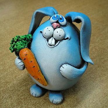 Для дома и интерьера ручной работы. Ярмарка Мастеров - ручная работа Зайка с морковкой.. Handmade.