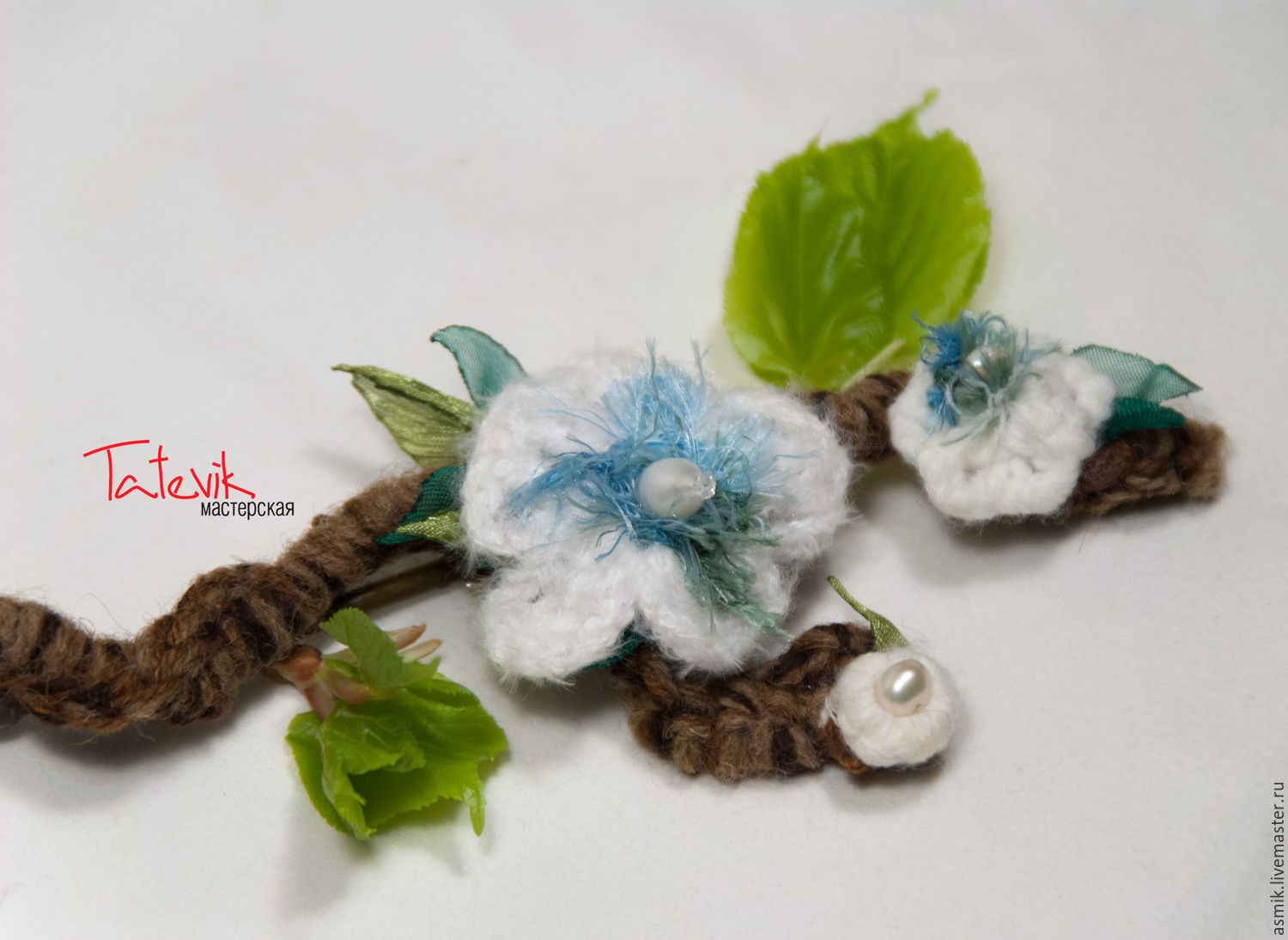 Knitted Brooch-branch 'Spring has come', Brooches, Moscow,  Фото №1