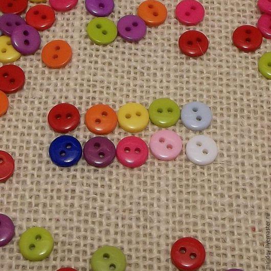 Для украшений ручной работы. Ярмарка Мастеров - ручная работа. Купить Мини пуговицы разноцветные 9мм. Handmade. Пуговицы декоративные