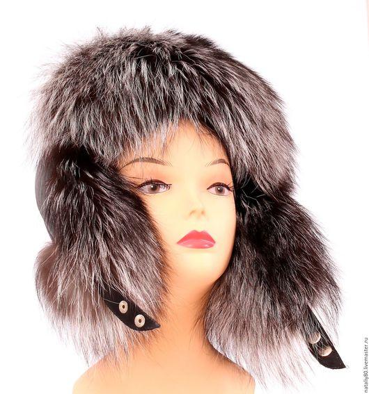 Шапки ручной работы. Ярмарка Мастеров - ручная работа. Купить Женская меховая шапка ушанка из серебристой лисы. Handmade. Серебряный