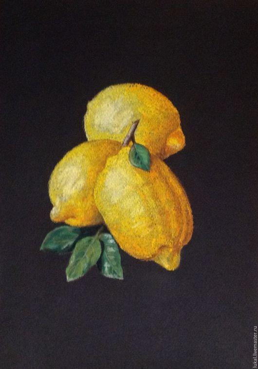 Натюрморт ручной работы. Ярмарка Мастеров - ручная работа. Купить Картина лимоны. Пастель.. Handmade. Комбинированный, натюрморт, для дачи