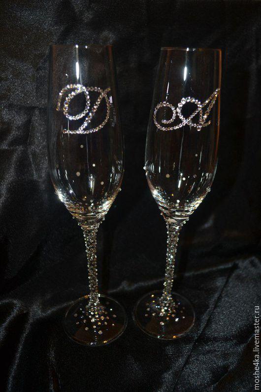 Свадебные аксессуары ручной работы. Ярмарка Мастеров - ручная работа. Купить Свадебные бокалы со стразами Swarovski. Handmade.
