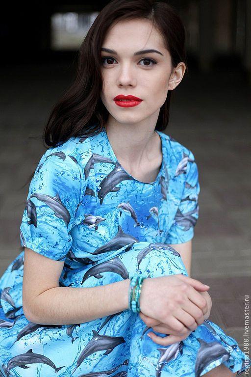 """Платья ручной работы. Ярмарка Мастеров - ручная работа. Купить платье """"Дельфины"""". Handmade. Бирюзовый, дельфины, 100% хлопок"""