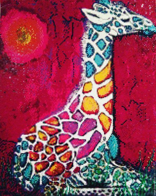 """Животные ручной работы. Ярмарка Мастеров - ручная работа. Купить Алмазная живопись, вышивка стразами """"Жираф"""". Handmade. Комбинированный, стразы"""