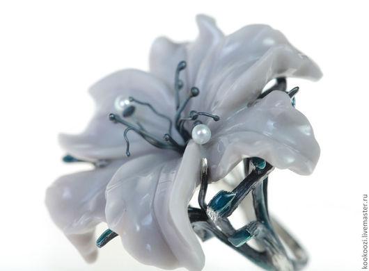 Кольца ручной работы. Ярмарка Мастеров - ручная работа. Купить Без названия. Handmade. Серый, цветок, оксидированное серебро