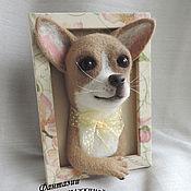Картины и панно ручной работы. Ярмарка Мастеров - ручная работа Панно чихуахуа, валяная собака. Handmade.