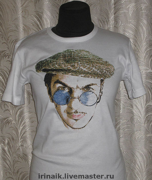 """Футболки, майки ручной работы. Ярмарка Мастеров - ручная работа. Купить """"Портрет музыканта"""" на футболке. Handmade. Вышитый портрет"""