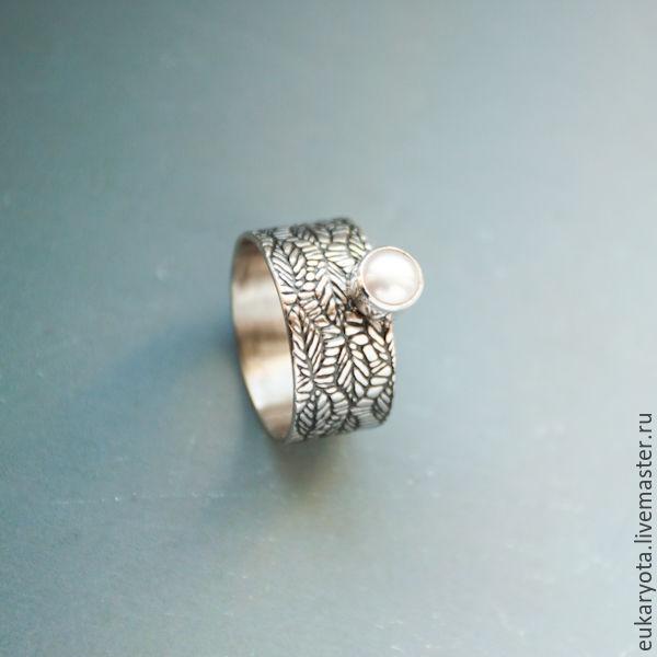 Кольцо из серебра с жемчугом Иней на листве, Кольца, Санкт-Петербург, Фото №1