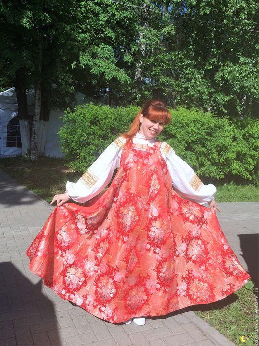 Одежда ручной работы. Ярмарка Мастеров - ручная работа. Купить Традиционный русский костюм. Handmade. Ярко-красный, нарядное платье