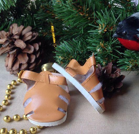 Куклы и игрушки ручной работы. Ярмарка Мастеров - ручная работа. Купить сандалии для кукол 7,5см скидка!!!. Handmade. Бежевый