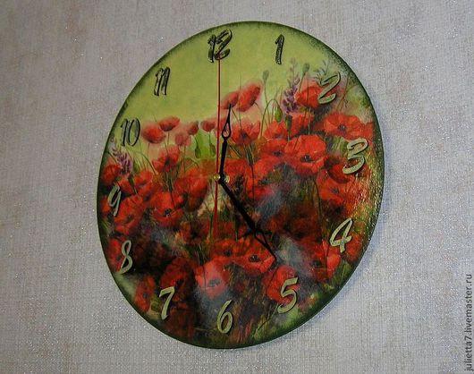 """Часы для дома ручной работы. Ярмарка Мастеров - ручная работа. Купить Часы """"Маковое поле"""". Handmade. Часы, часы интерьерные"""
