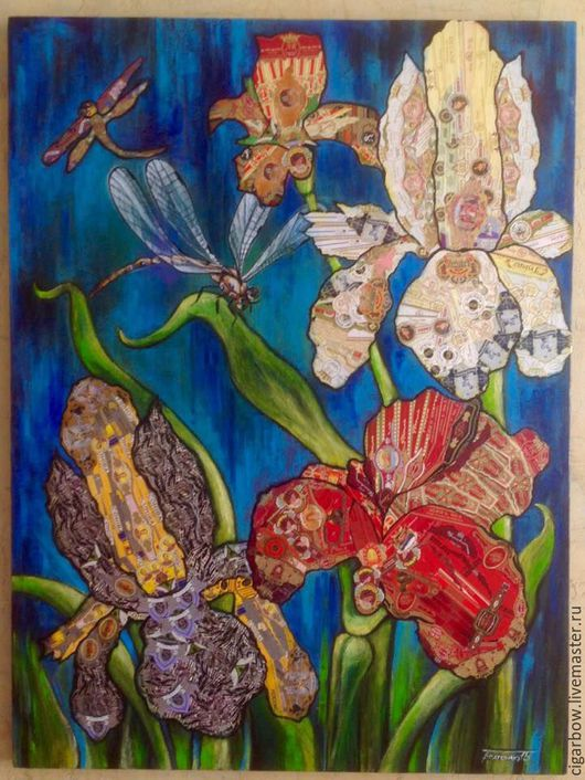Картины цветов ручной работы. Ярмарка Мастеров - ручная работа. Купить Ирисы. Handmade. Цветы, природа, лак