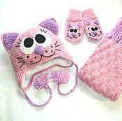 Работы для детей, ручной работы. Ярмарка Мастеров - ручная работа Детский комплект Кошечка,шапочка шарфик и варежки. Handmade.