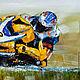 """Люди, ручной работы. Картина маслом """"Желтый цвет для лидера"""" (Серия """"Мотоциклы""""). Сообщество художников LegacyArt. Интернет-магазин Ярмарка Мастеров."""