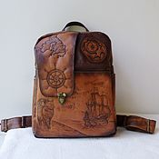 handmade. Livemaster - original item A leather backpack with an engraving to order as a gift to my daughter.. Handmade.