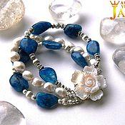 Украшения handmade. Livemaster - original item Multi-row bracelet large Baroque pearls and kyanite with stylish. Handmade.
