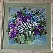 """Картины и панно ручной работы. Ярмарка Мастеров - ручная работа Вышитая картина """"Весенний букет"""". Handmade."""