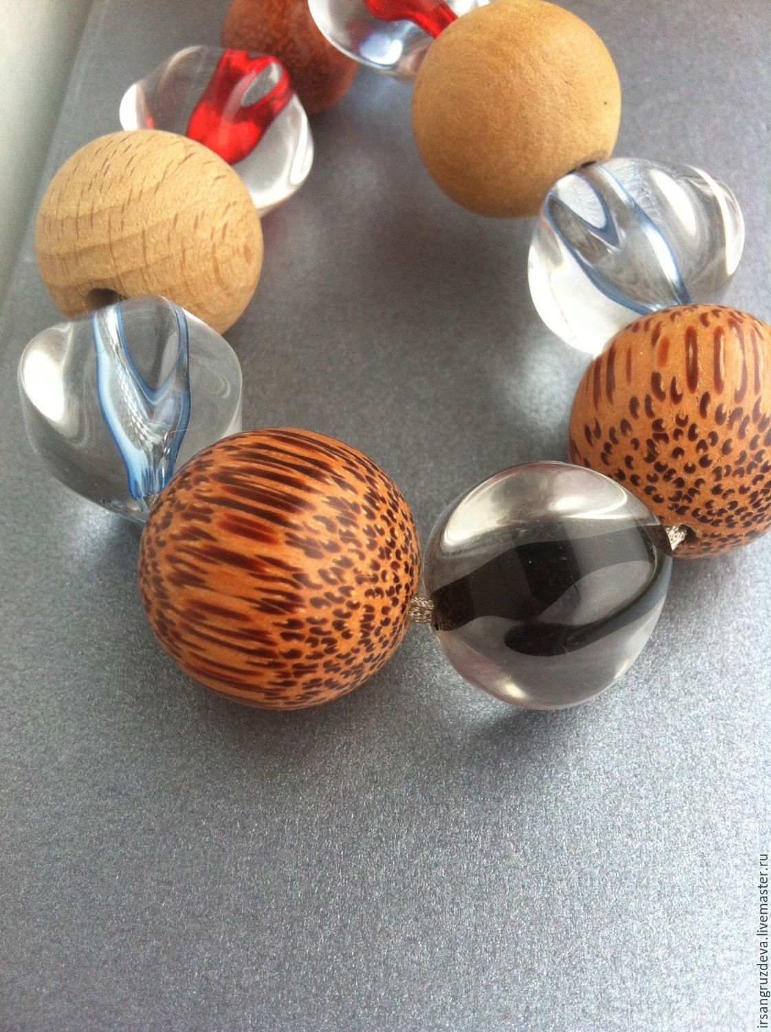 Long Large necklace beads !Spring landscape!, Necklace, St. Petersburg,  Фото №1