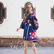 Одежда ручной работы. Ярмарка Мастеров - ручная работа Платье  бохо вышиванка лен, этно, стиль бохо шик,стиль Вита Кин. Handmade.
