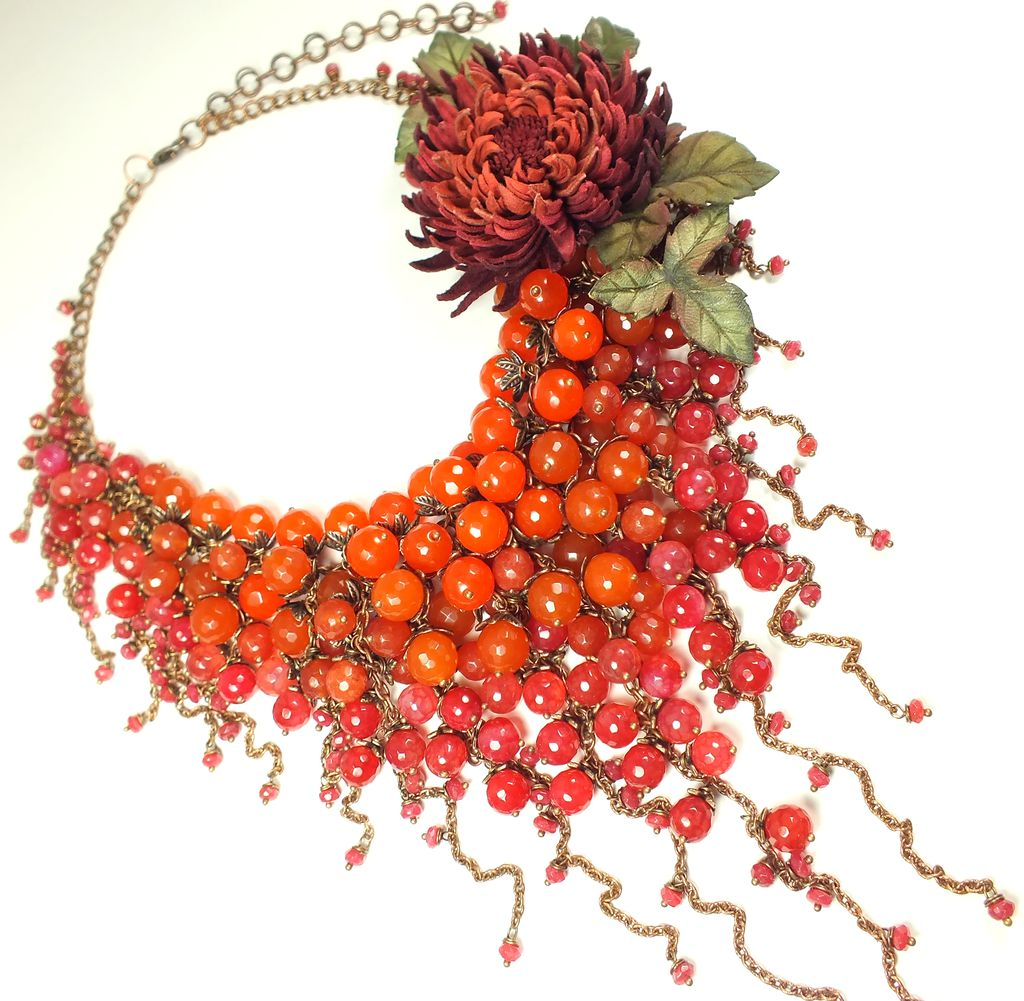 Scarlet Parfait. Necklace made of natural stones, flower brooch, Jewelry Sets, St. Petersburg,  Фото №1