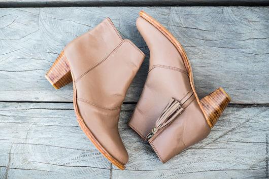 Обувь ручной работы. Ярмарка Мастеров - ручная работа. Купить Женские ботинки из натуральной кожи. Кожаные сапожки. 41 размер. Handmade.