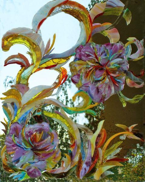 Зеркала ручной работы. Ярмарка Мастеров - ручная работа. Купить Мозаика-фьюзинг-пионы. Handmade. Розовый, уникальная техника, мозаика
