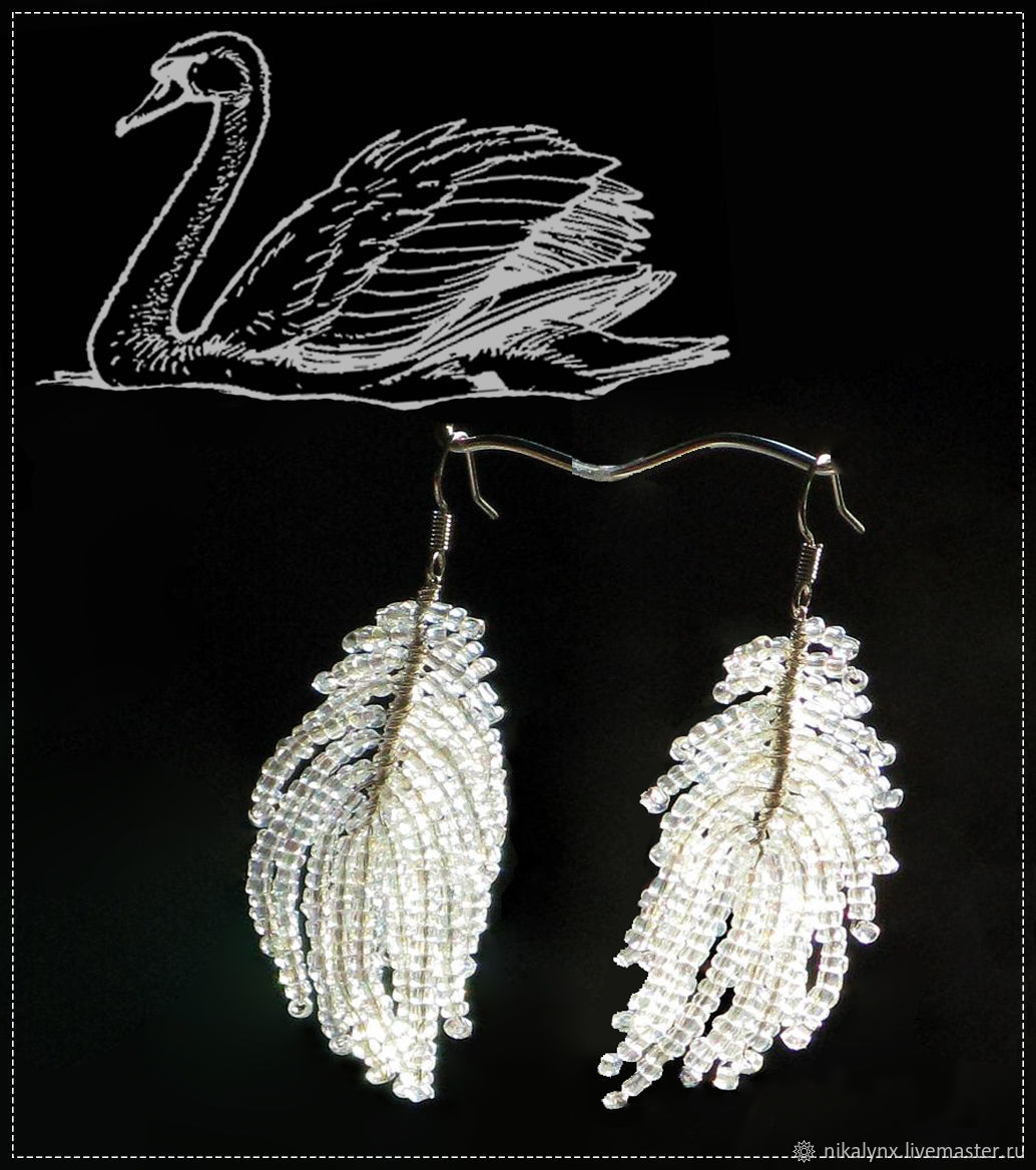 Earrings Bead  White plume, Earrings, St. Petersburg,  Фото №1