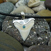 Украшения handmade. Livemaster - original item Pendant-pendant bull shark tooth with this blue opal 1 carat. Handmade.