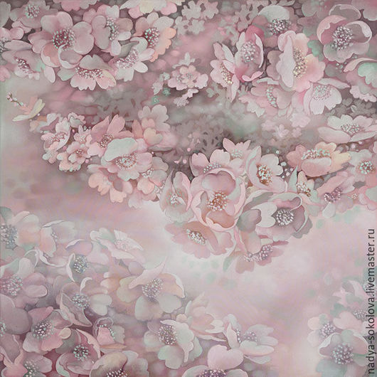 Картины цветов ручной работы. Ярмарка Мастеров - ручная работа. Купить Сакура (триптих). Handmade. Бледно-розовый, искусственный шёлк
