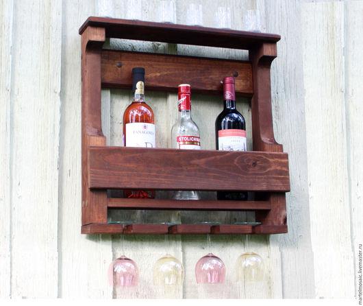 Мебель ручной работы. Ярмарка Мастеров - ручная работа. Купить Полка для вина и бокалов (5 бутылок / 4 бокала). Handmade.