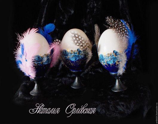 """Подарки на Пасху ручной работы. Ярмарка Мастеров - ручная работа. Купить Яйца пасхальные """"Чудо в перьях"""". Handmade. Тёмно-синий"""