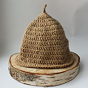 Дача и сад handmade. Livemaster - original item Bath accessories: jute fiber cap for bath, sauna.. Handmade.