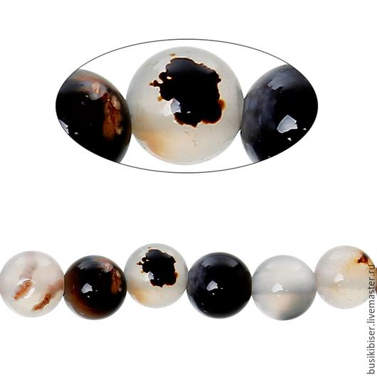 Бусины из агата светлого (разные оттенки) - 6 мм.