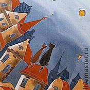 Аксессуары ручной работы. Ярмарка Мастеров - ручная работа Шёлковый шарф Свидание на крыше. Handmade.