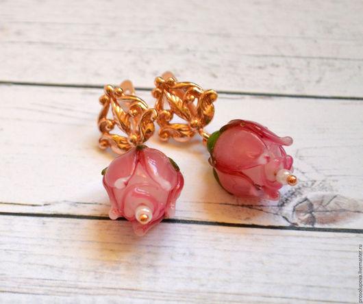 """Серьги ручной работы. Ярмарка Мастеров - ручная работа. Купить Серьги лэмпворк (lampwork) """"Розы"""". Handmade. Розовый, украшение, роза"""