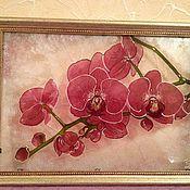 """Картины и панно ручной работы. Ярмарка Мастеров - ручная работа Картина на стекле """"Орхидеи"""". Handmade."""