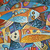 """Картины и панно ручной работы. Ярмарка Мастеров - ручная работа Батик  """"Аквариум"""". Handmade."""