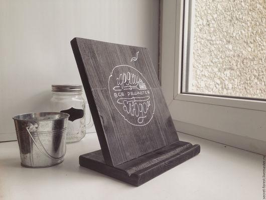 Кухня ручной работы. Ярмарка Мастеров - ручная работа. Купить Подставка держатель планшета для кухни. Handmade. Дерево, черный