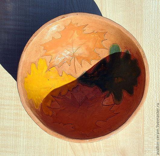 """Тарелки ручной работы. Ярмарка Мастеров - ручная работа. Купить Миска """"Листопад"""". Handmade. Листья, осень, глиняный"""