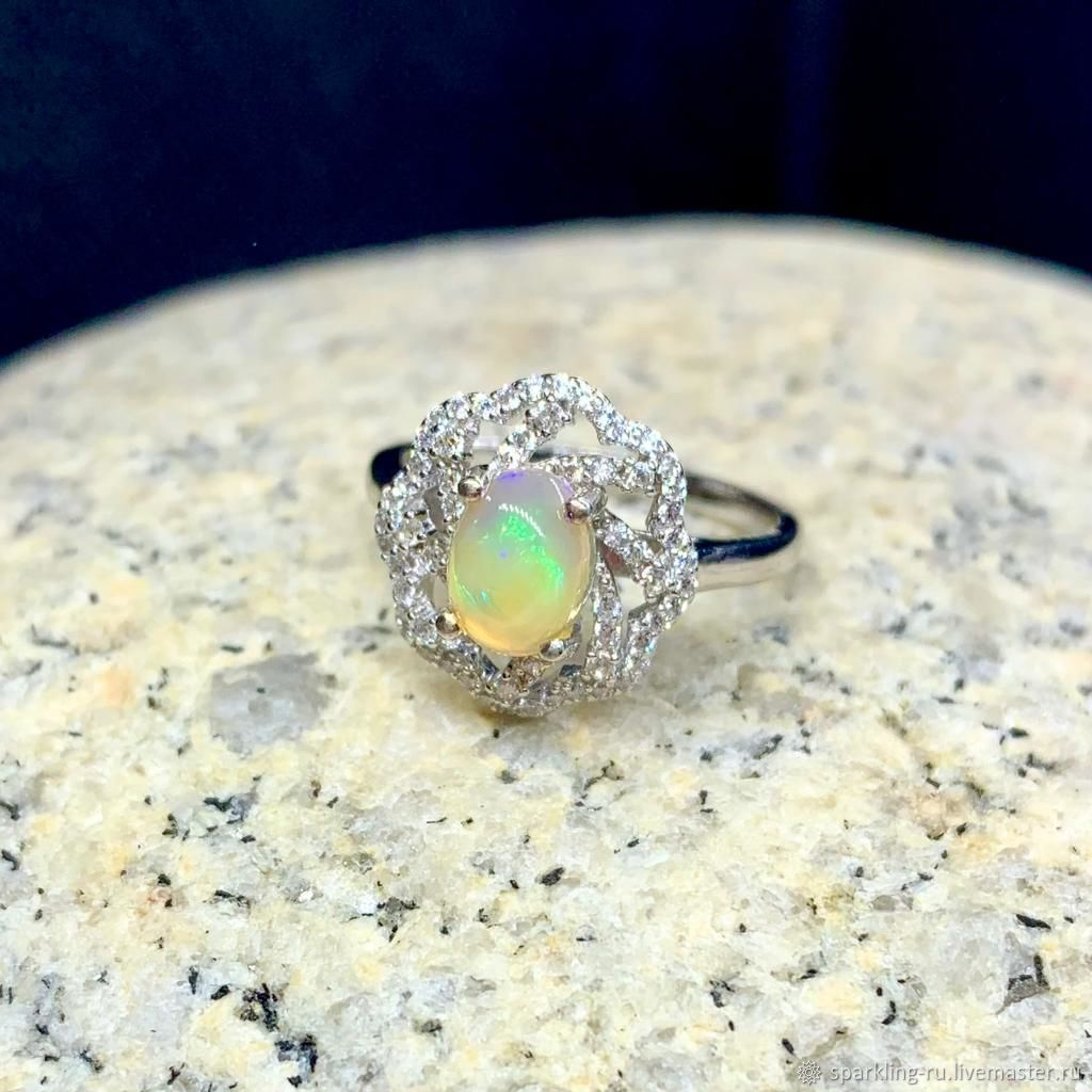 Silver ring with opal size 18, Rings, Moscow,  Фото №1