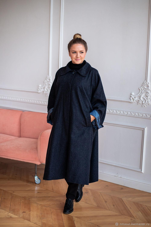 Light coat made of Italian wool blue herringbone oversize, Coats, Novosibirsk,  Фото №1