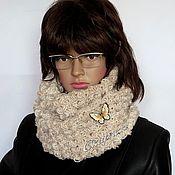 Аксессуары ручной работы. Ярмарка Мастеров - ручная работа Снуд в два оборота с брошью, шарф хомут снуд из шерсти, объёмный снуд. Handmade.