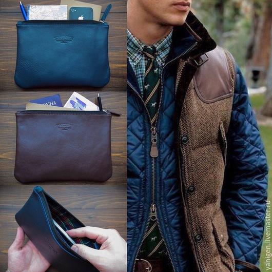 Органайзеры для сумок ручной работы. Ярмарка Мастеров - ручная работа. Купить Кожаный клатч, чехол сумка iPad mini. Handmade.