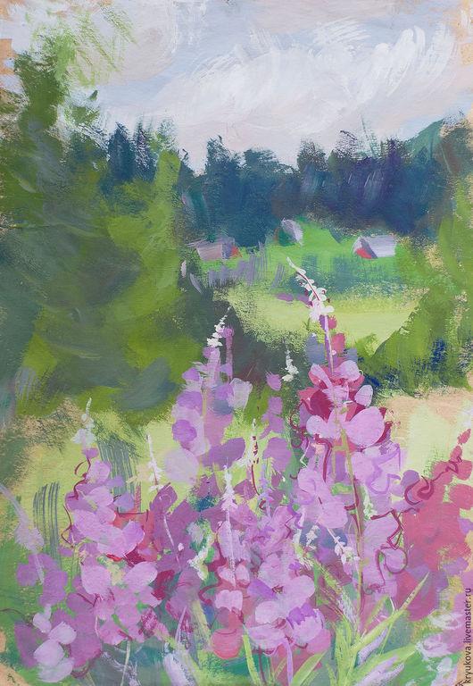Анна Крюкова (impression-живопись) Лето в разгаре картина Полевые цветы картина в подарок Иван-чай Сиреневые цветы