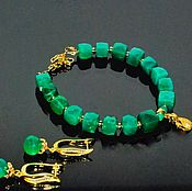 Украшения handmade. Livemaster - original item Bracelet and earrings with chrysoprase. Handmade.