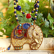 Украшения ручной работы. Ярмарка Мастеров - ручная работа Восточный слон. Кулон - с лазуритом, рубинами, керамикой, вышивка. Handmade.
