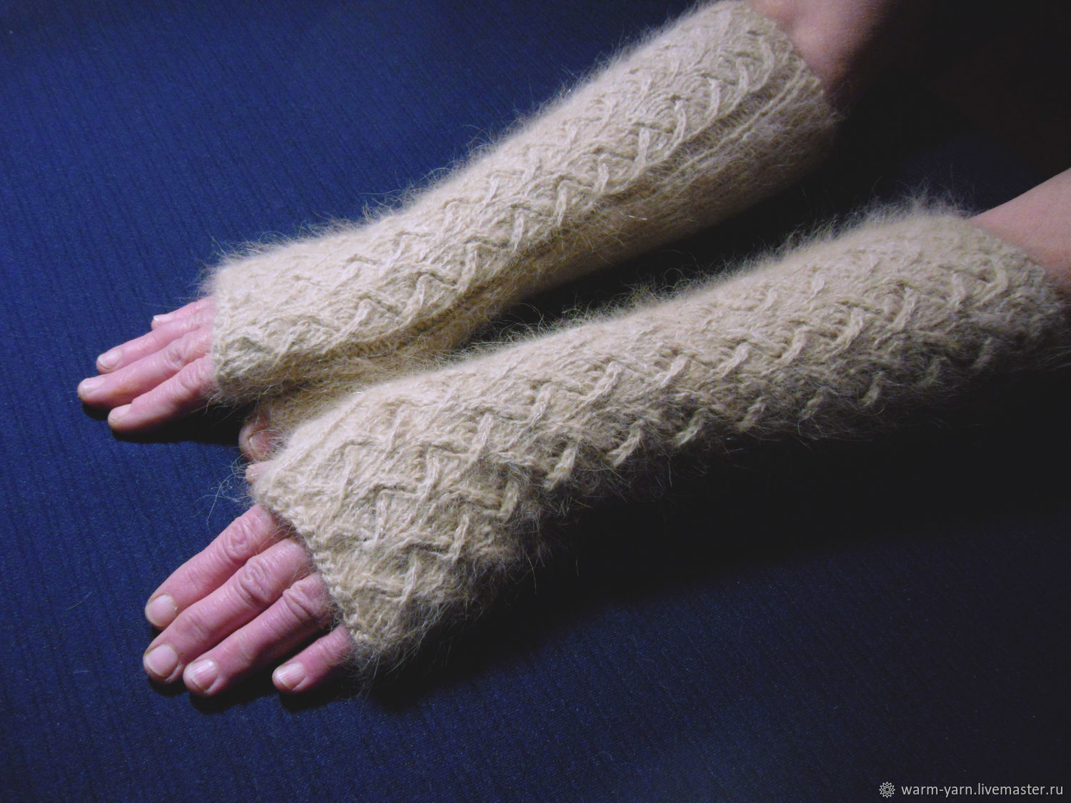 Women's knitted long fingerless gloves Zigzag of fortune, Mitts, Klin,  Фото №1