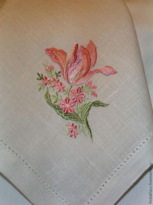 """Текстиль, ковры ручной работы. Ярмарка Мастеров - ручная работа. Купить Салфетки льняные """"Розовый тюльпан"""". Handmade. Белый, салфетка"""